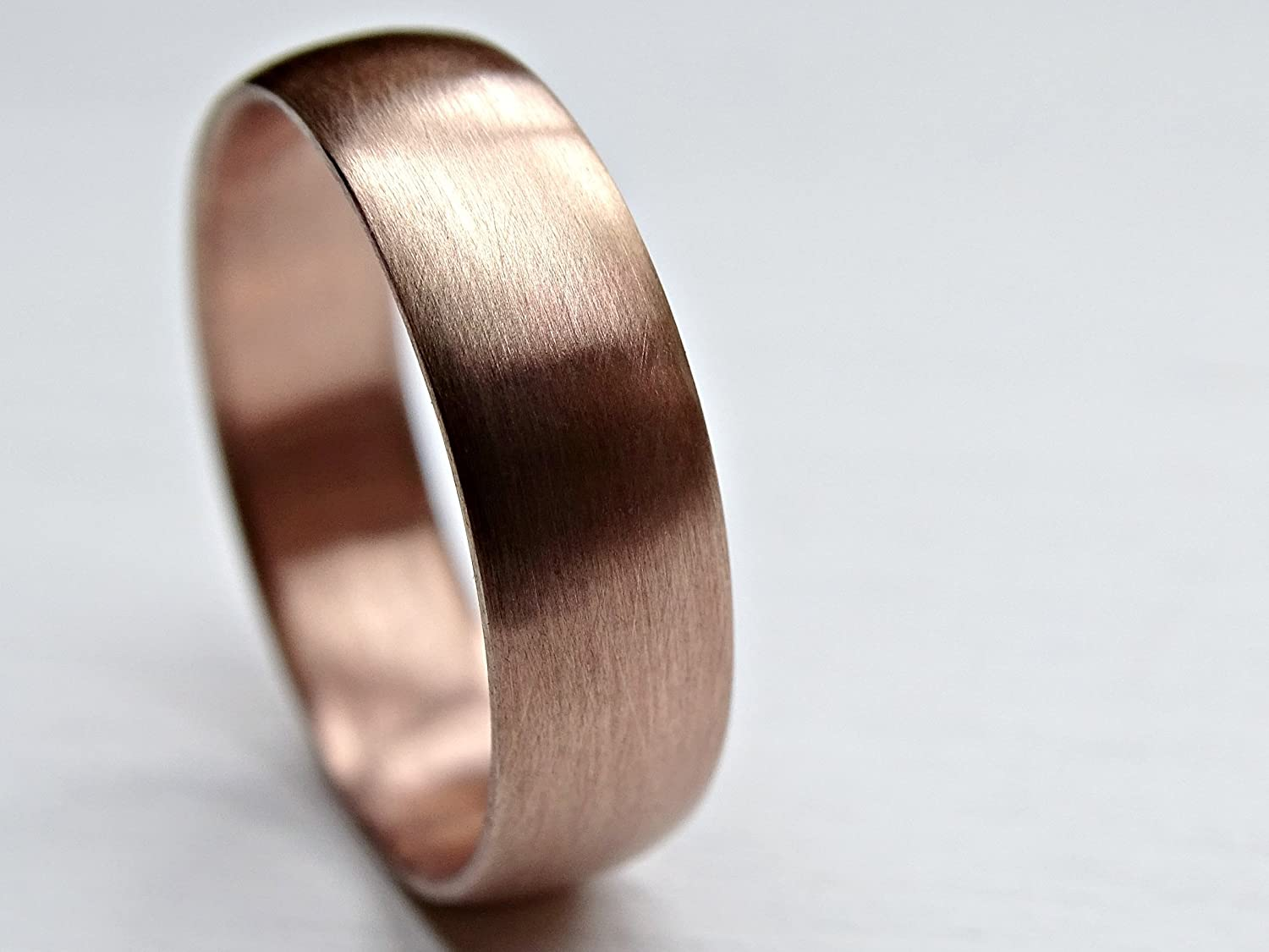 Amazon.com: rose gold wedding band mens, pink gold ring domed