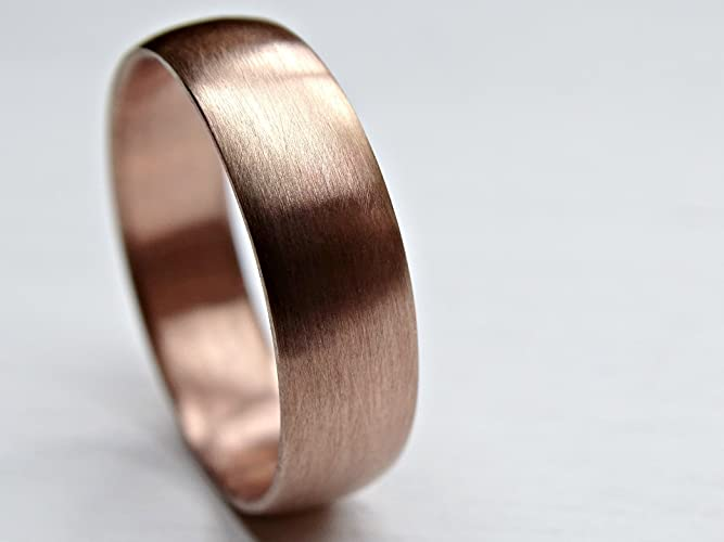 Mens Rose Gold Wedding Band.Amazon Com Rose Gold Wedding Band Mens Pink Gold Ring Domed White