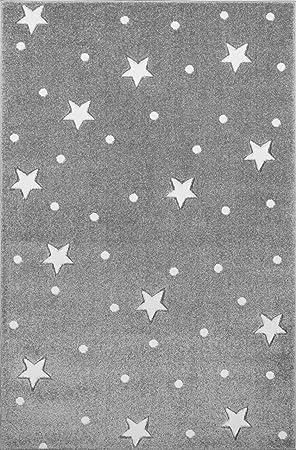 Kinderteppich Kinderzimmer Teppich mit Sternen Punkte blaugrau//weiss 133cm rund