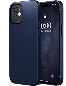 SURPHY Faux Leather Case Compatible with iPhone 12 Pro case and iPhone 12 case 6.1 inches 2020, Faux Leather Case Cover (with Microfiber Lining) Designed for iPhone 12 & 12 Pro (Midnight Blue)