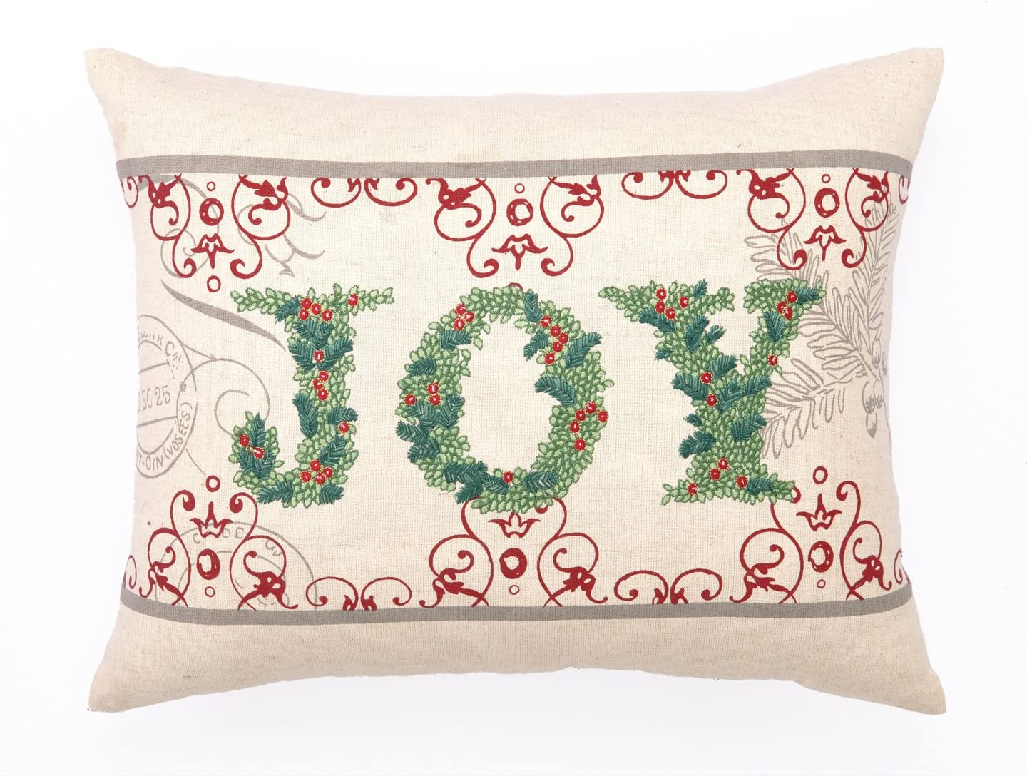 Peking Handicraft Joy Embroidery Cotton Lumbar Pillow