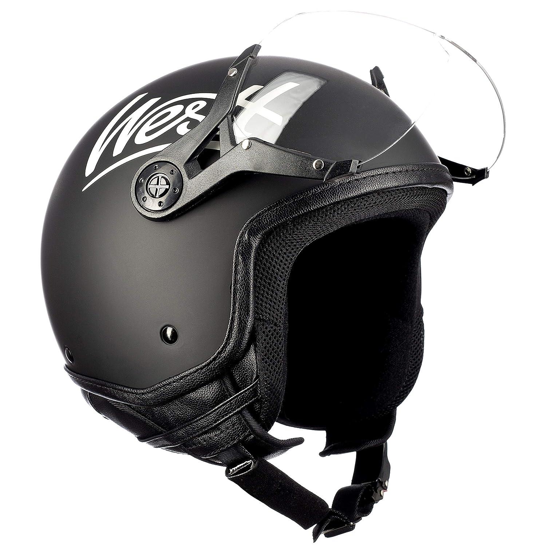 Westt/® Classic X /· Casco Jet Vintage Moto Nero Opaco Scooter Motorino Chopper /· Casco Moto Donna e Uomo Demi Jet /· Omologato ECE