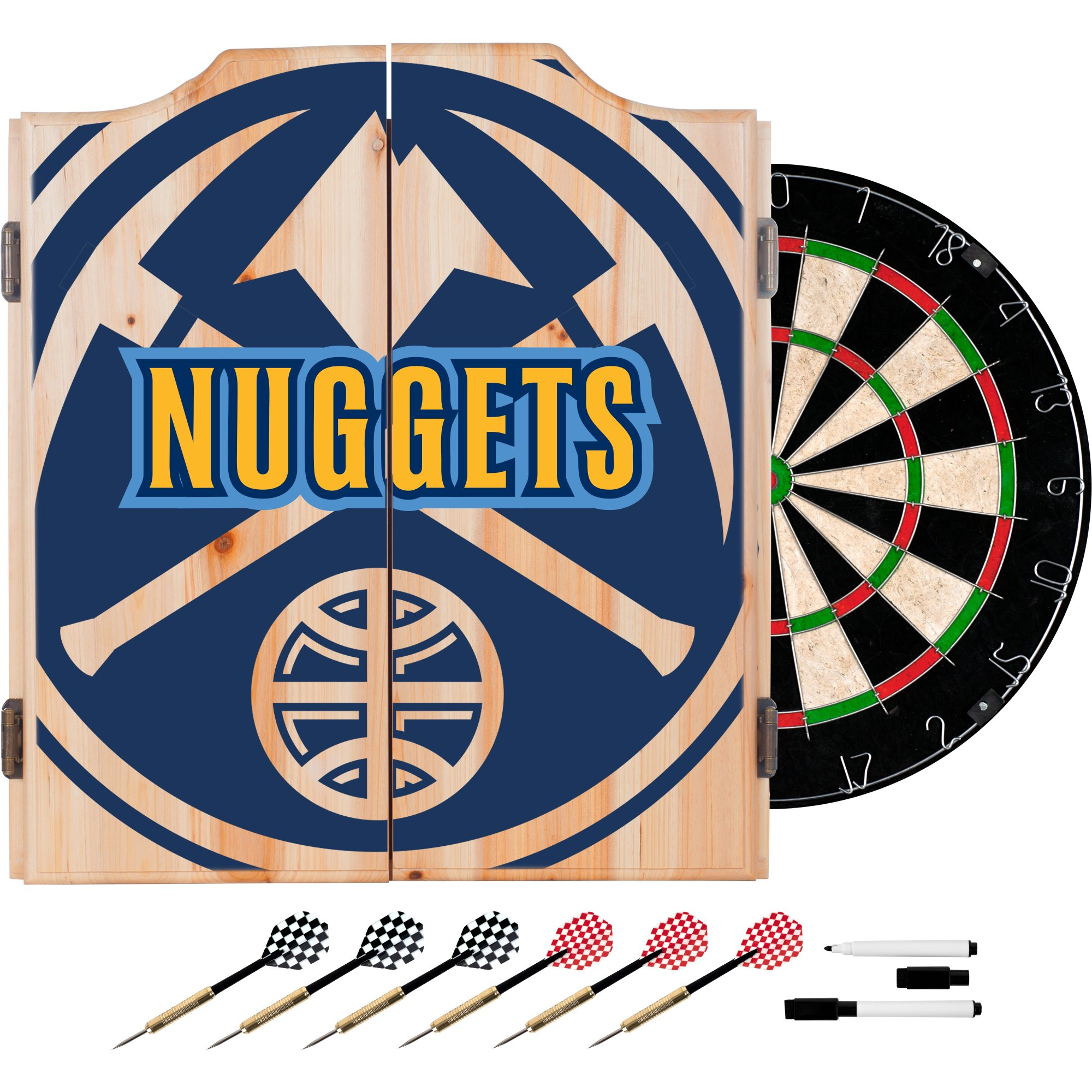 Trademark Gameroom NBA7010-DN2 NBA Dart Cabinet Set with Darts & Board - Fade - Denver Nuggets by Trademark Global