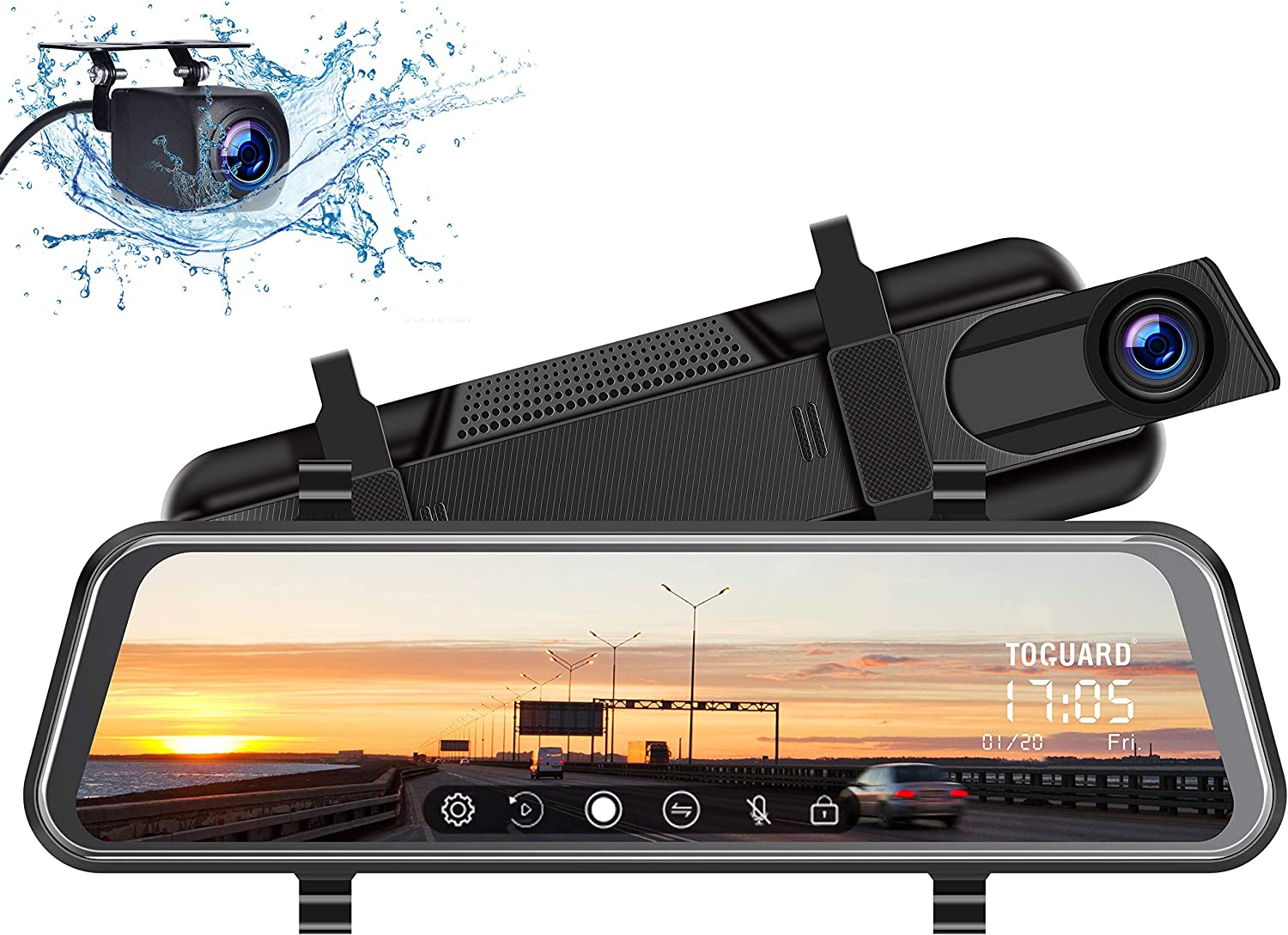 YDI Dashcam R/étroviseur /Écran Tactile de 10 Pouces Full HD 1080P Cam/éra Avant Grand Angle de 170/° et Cam/éra Arri/ère /Étanche de 140/° Cam/éra de Voiture Vision Nocturne Starlight
