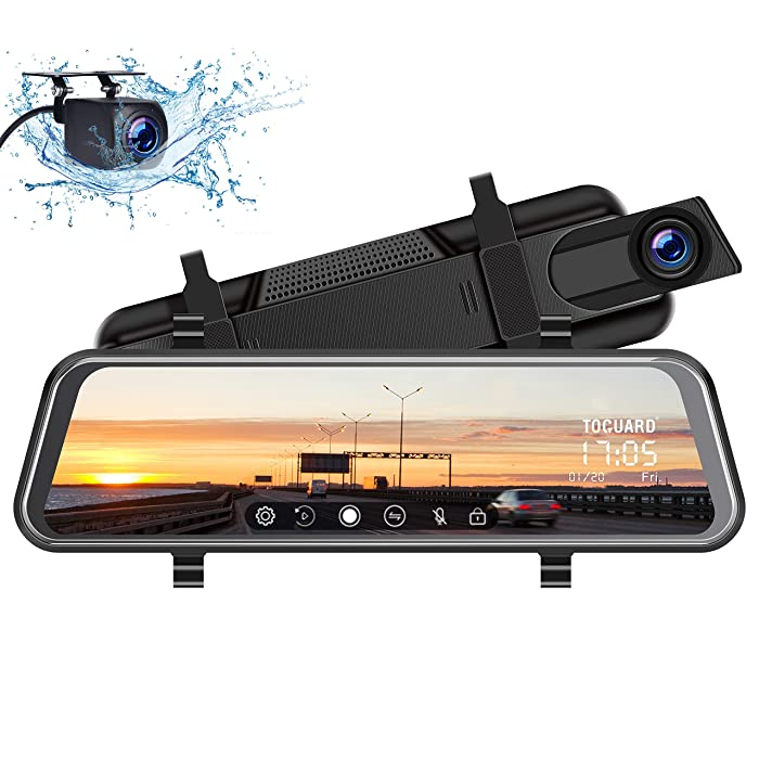 "TOGUARD Backup Camera 10"" Mirror Dash Cam, Dash Cam Front and Rear Full Touch Screen Video Streaming Rear View Mirror Camera,Night Vision Waterproof 1080P Rear Camera"
