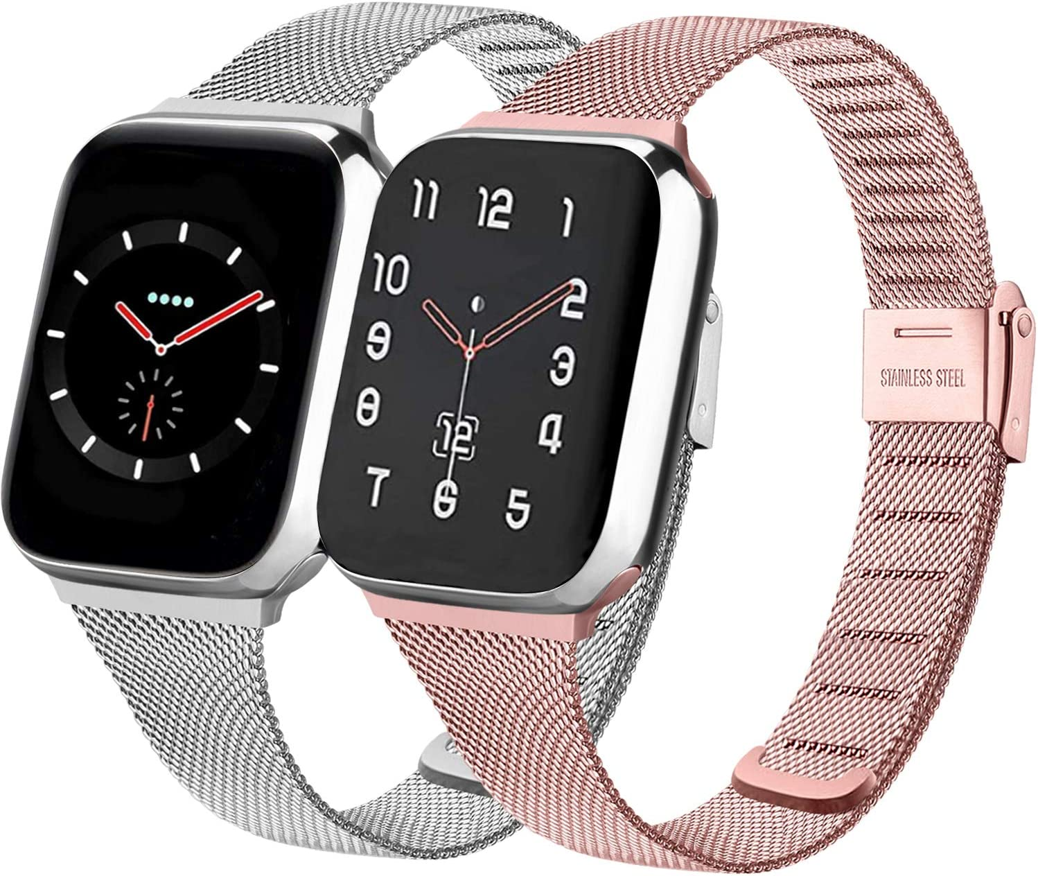 PACK 2 Metal Band Compatible with Apple Watch 38mm 40mm 42mm 44mm,Stainless Steel Mesh Loop with Adjustable Magnetic Closure Bands Compatible for iWatch Series 5/4/3/2/1(rose pink+silver,42mm/44mm)