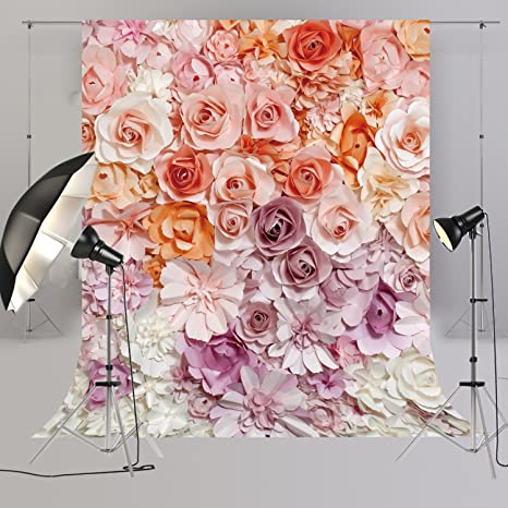 large rose floral backdrop for ladies in baby shower pictures wedding bridal shower event party photography