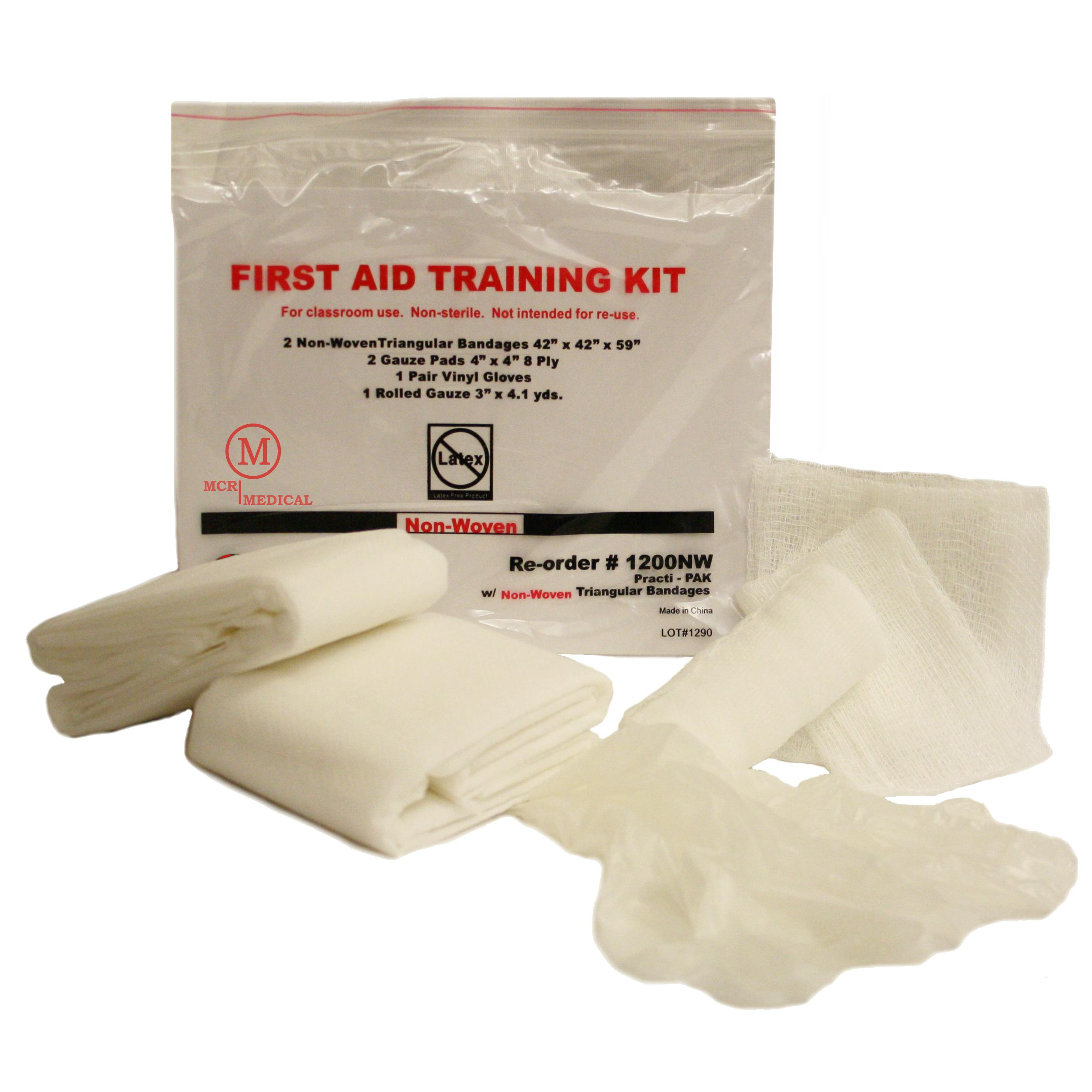 MCR Medical Supply 1200NW-100 Cotton/Plastic First Aid Training Kits (Pack of 100)
