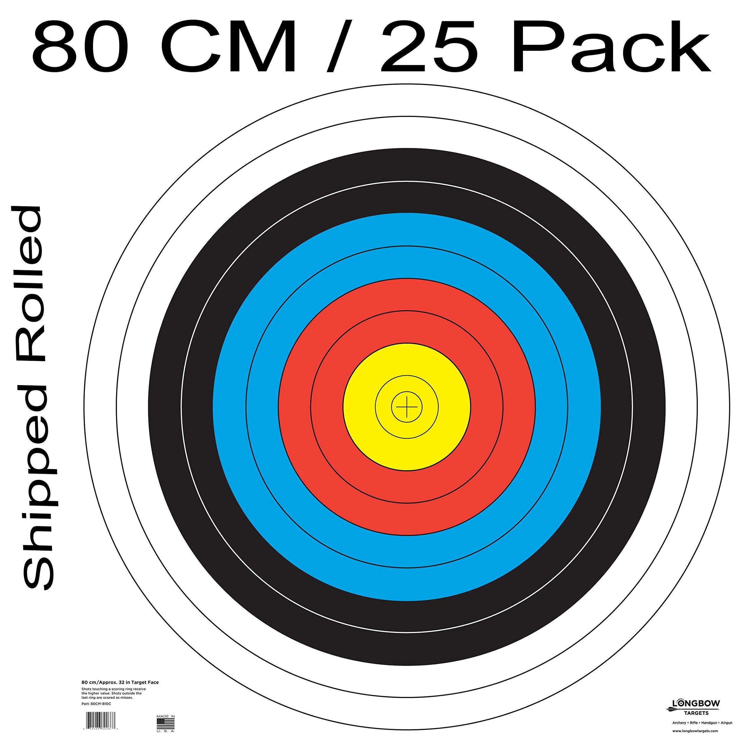 Archery 40cm & 80cm Targets by Longbow (25 Pack, 80cm Archery Paper)