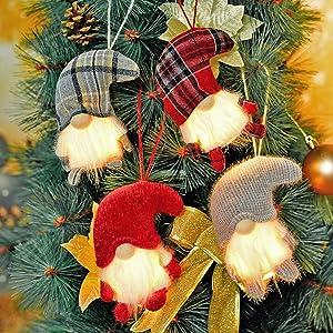 Gnome Christmas Ornaments with Led Light, Handmade Swedish Tomte Xmas Gnomes Plush Doll, Scandinavian Santa Elf Table Ornaments, Lighting Hanging Christmas Tree Decorations Home Décor