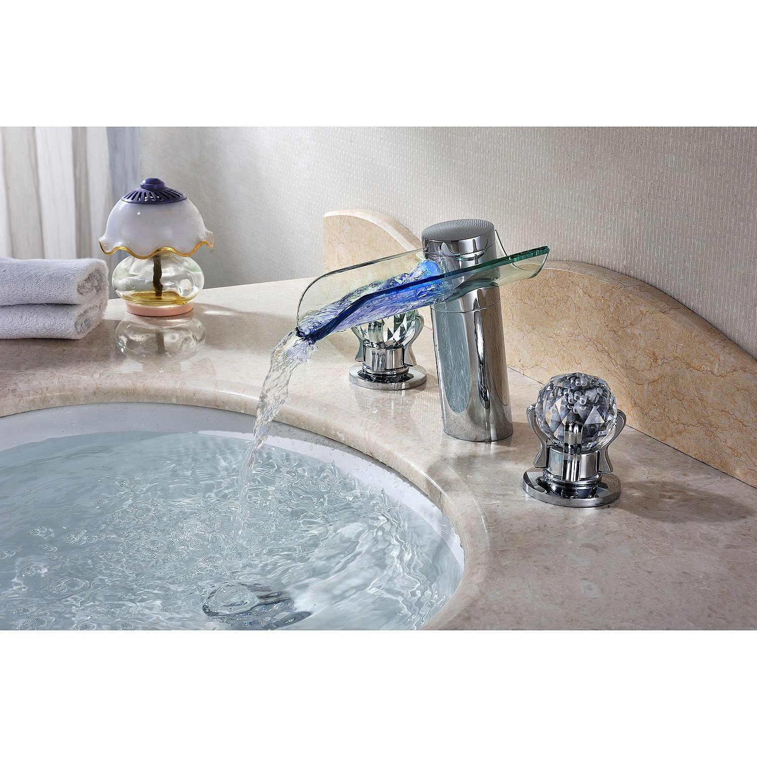 Bathroom Sink Faucet LED Color With Crystal Handles Beautiful ...