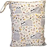 BABYBOET Double Zippered Waterproof Wet Bag, Washable, Reusable for Travel, Beach, Pool, Stroller, Diapers, Dirty Gym Clothes, Wet Swimsuits, Toiletries, Electronics, Toys, 30cmX40cm – Sloth