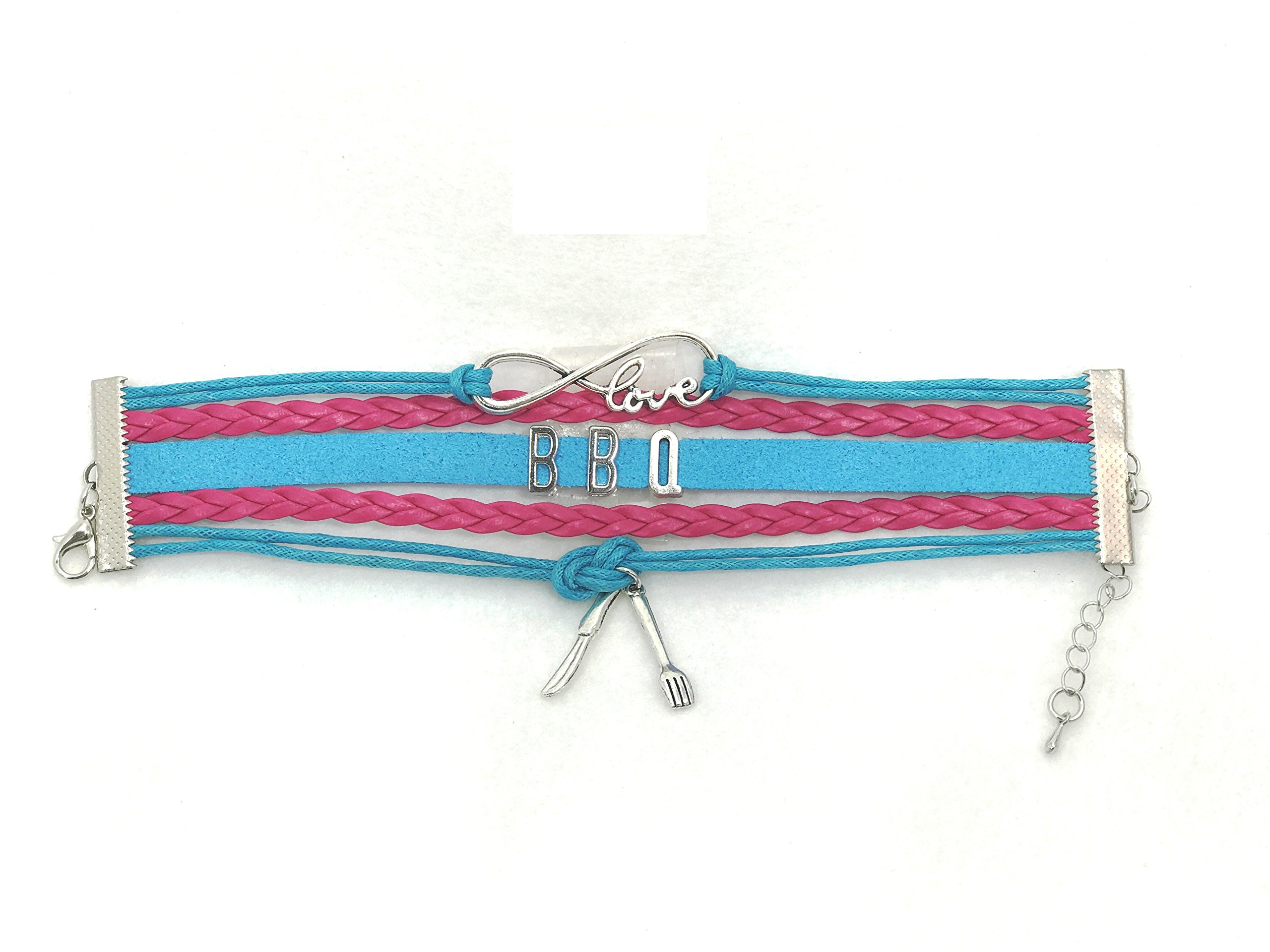 - Love for BBQ Wrist Band ( pink and turquoise ) DangiTM