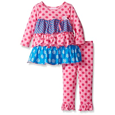 Bonnie Baby Baby Girls Multi Tiered Dot And Stripe Knit Legging Set