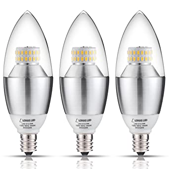 LOHAS Candelabra LED Bulb, Dimmable 6Watt(60 Watt Equivalent) LED ...
