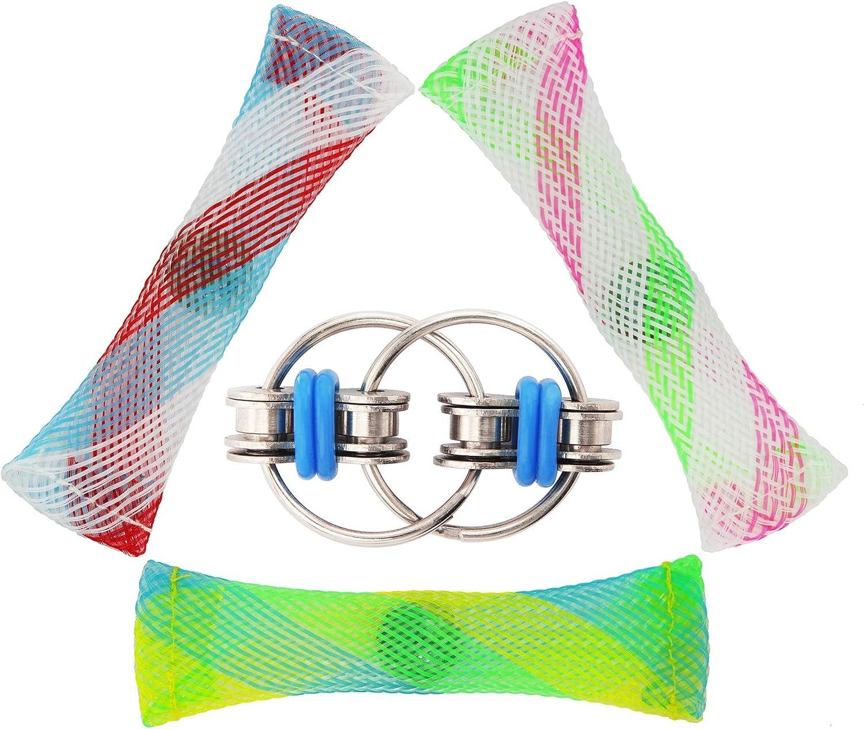 7 Pack Flippy Chain Fidget Toy Marble Fidget Keychain Fidget Toys Squeeze-a-Bean Keyring Pea Keychain Soybean Toys Gift