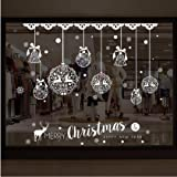 YunZyun Christmas Shop Window Decoration Wall Removable Stickers Christmas Bells Deer - Window Clings Decal Stickers for…