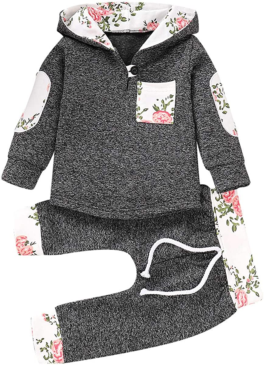 Newborn Baby Boy Hoodie Long Sleeve Sweatshirts Tops with Full Long Floral Print Pants Sweatsuit Tracksuits Patchwork Toddler Drawstring Outfit Sets Infant Baby Boys Girls Outfits Clothes