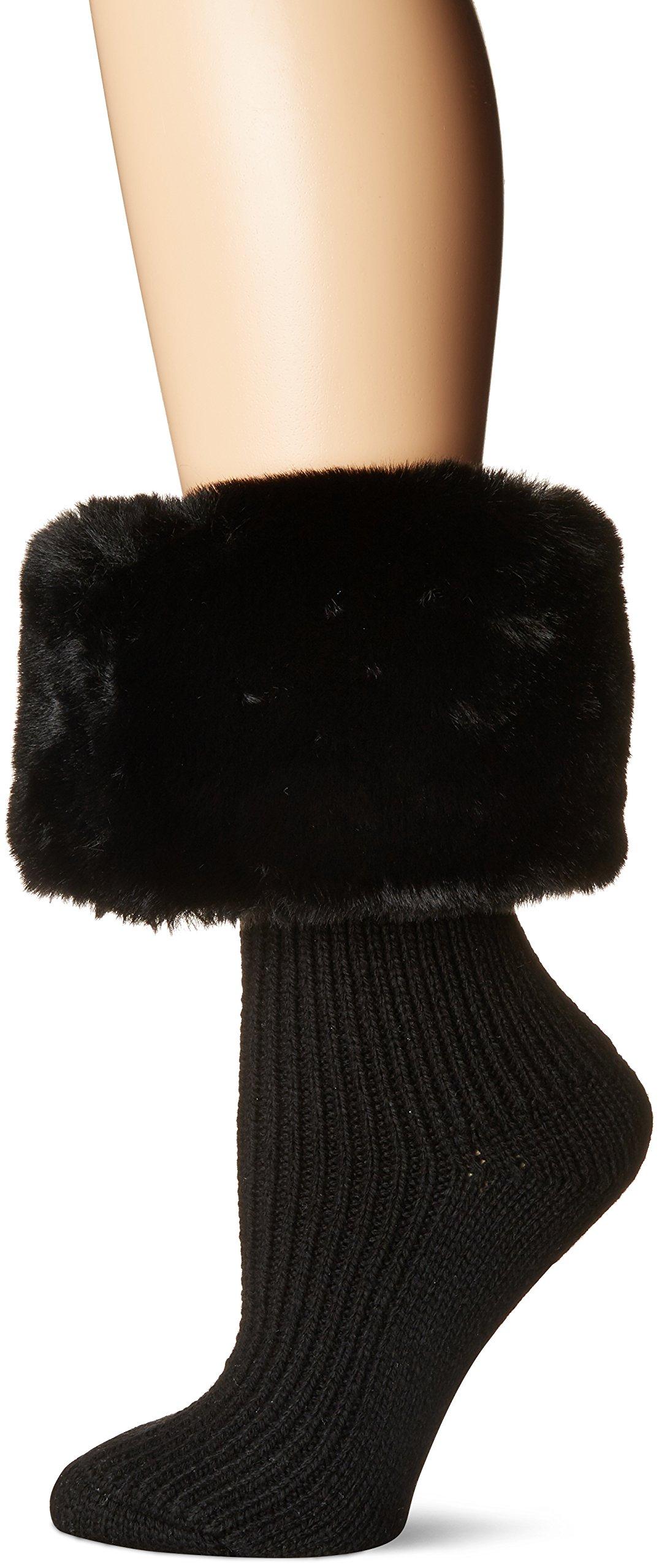 UGG Women's Faux Fur Cuff Short Rainboot Sock, black O/S