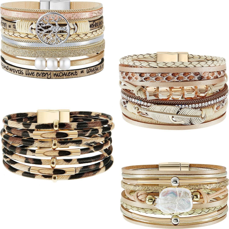 Hicarer 4 Pieces Feather Wrap Bracelet Leopard Bracelets Boho Leather Cuff Bracelets (Classic Style): Jewelry