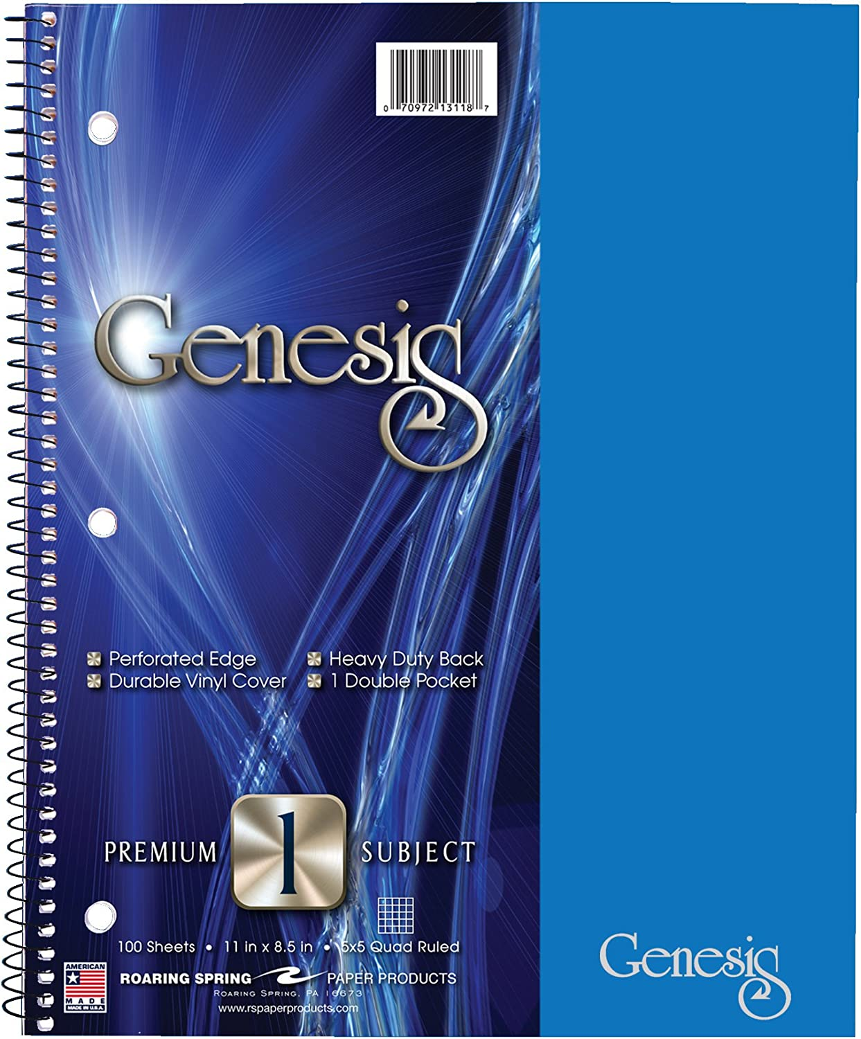 """Roaring Spring Genesis Graph Ruled 1 Subject Spiral Notebook with Double Pocket, 11"""" x 9"""" 100 Sheets, Assorted Colors"""