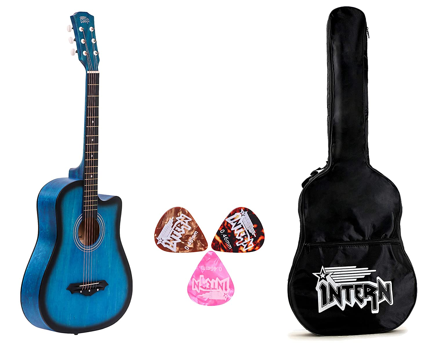 Intern INT-38C Blue Acoustic Guitar Kit With Carry Bag & Picks