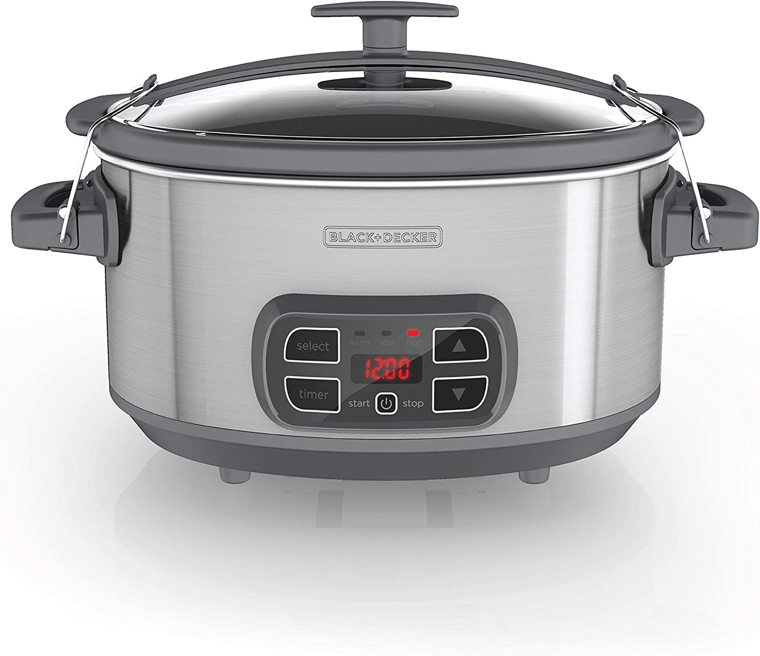 BLACK+DECKER SCD1007 7 Quart Programmable Slow Cooker with Digital Timer, Portable with Locking Lid, Stainless Steel (Renewed)