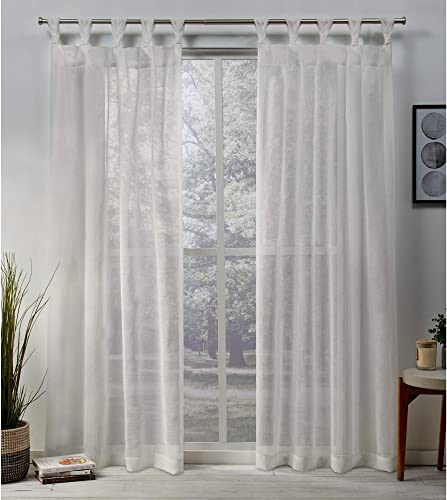Exclusive Home Curtains Belgian Textured Linen Look Jacquard Sheer Braided Tab Top Curtain Panel Pair, 50×96, Snowflake