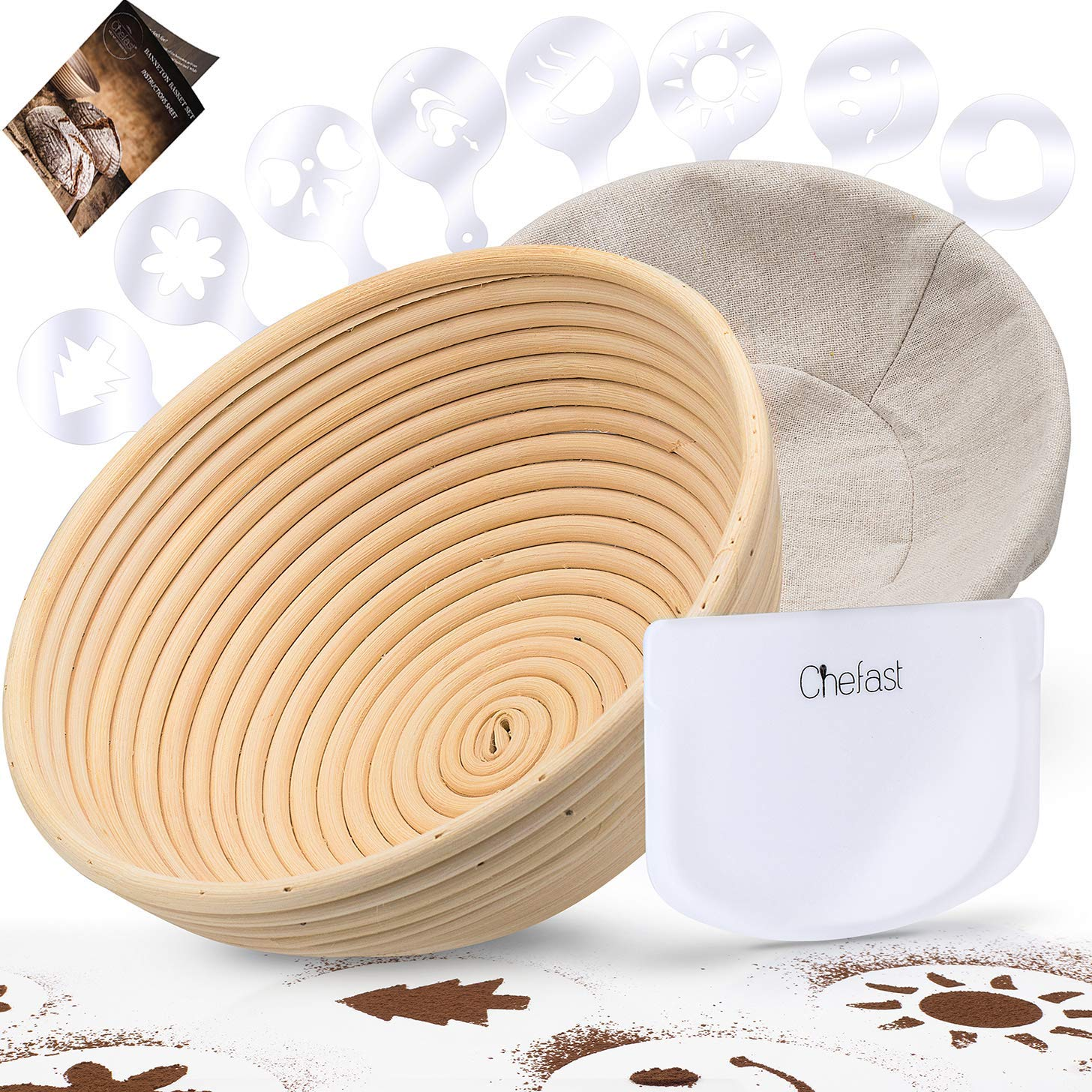 Chefast Banneton Proofing Basket Set: Combo Kit of 9.5'' Natural Rattan Basket with Brotform Cloth Liner, 8 Bread Stencils and Bowl/Dough Scraper + Instructions - Make Perfectly Round Sourdough Boules by Chefast