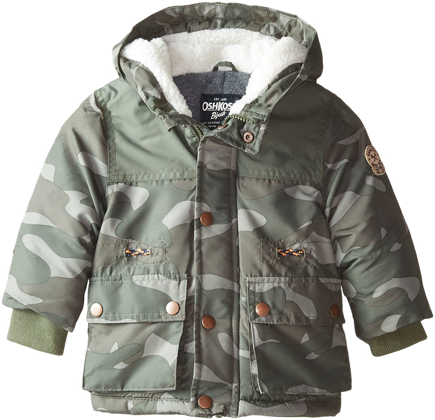 OshKosh Baby Boys Warm Winter Puffer Jacket Coat with Fleece Lined Hood