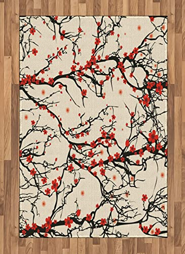 Lunarable Japanese Area Rug, Nature Cherry Blossom Sakura Branch Flowers Art Print, Flat Woven Accent Rug for Living Room Bedroom Dining Room, 4 X 5.7 , Brown Vermilion
