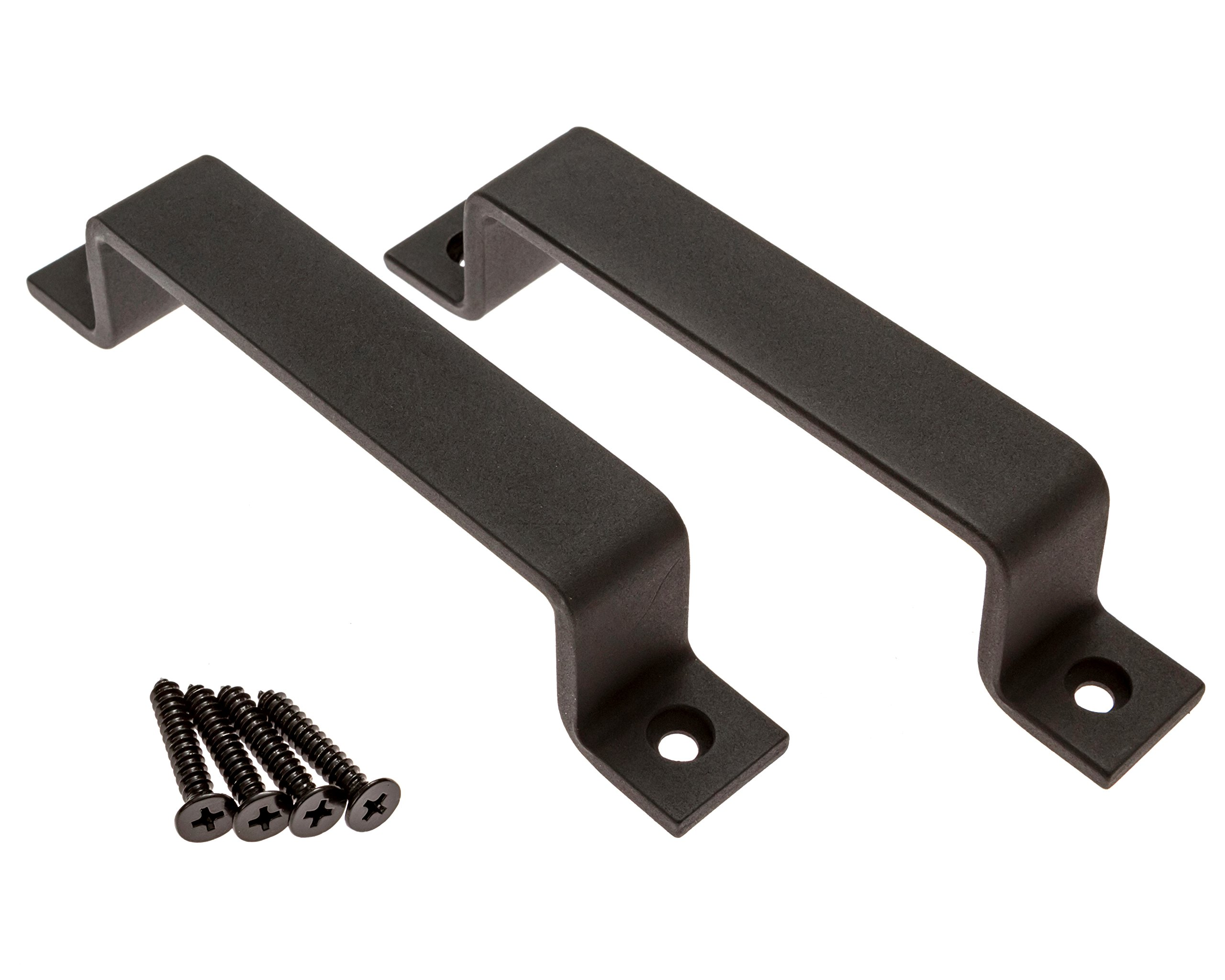 Sliding Barn Door Handle Pull Set | Black Steel or Stainless Steel | Screws Included