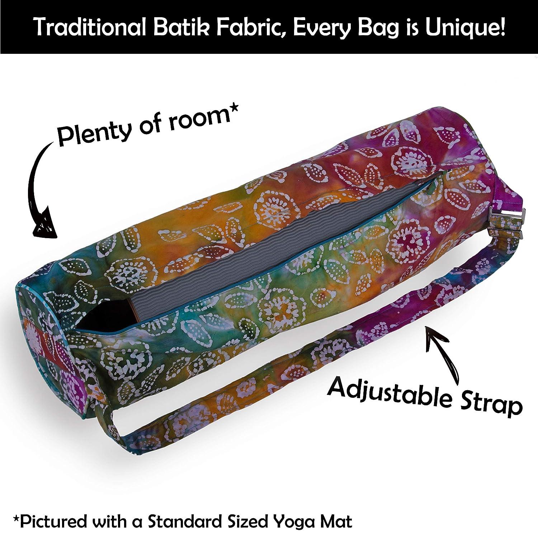 Plus Outer and Inner Pockets. Adjustable Shoulder Strap Bliss Peak Batik Yoga Bag Handmade in India
