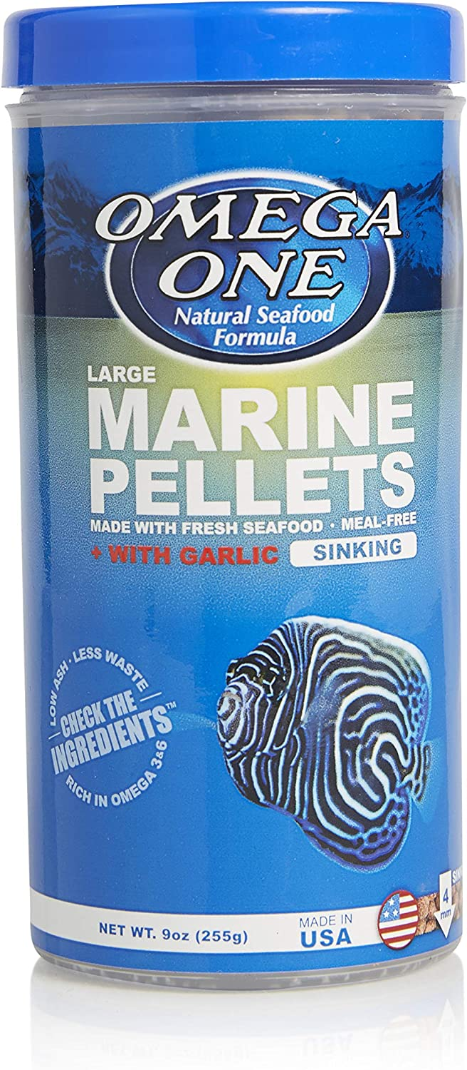 Omega One Garlic Marine Pellets, Sinking, 4mm Large Pellets (Packaging May Vary)
