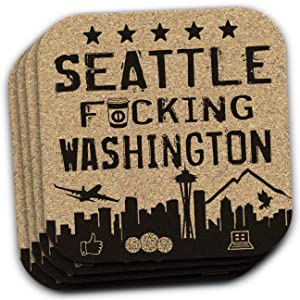 Seattle WA Washington Souvenir 4 Coaster Gift Set
