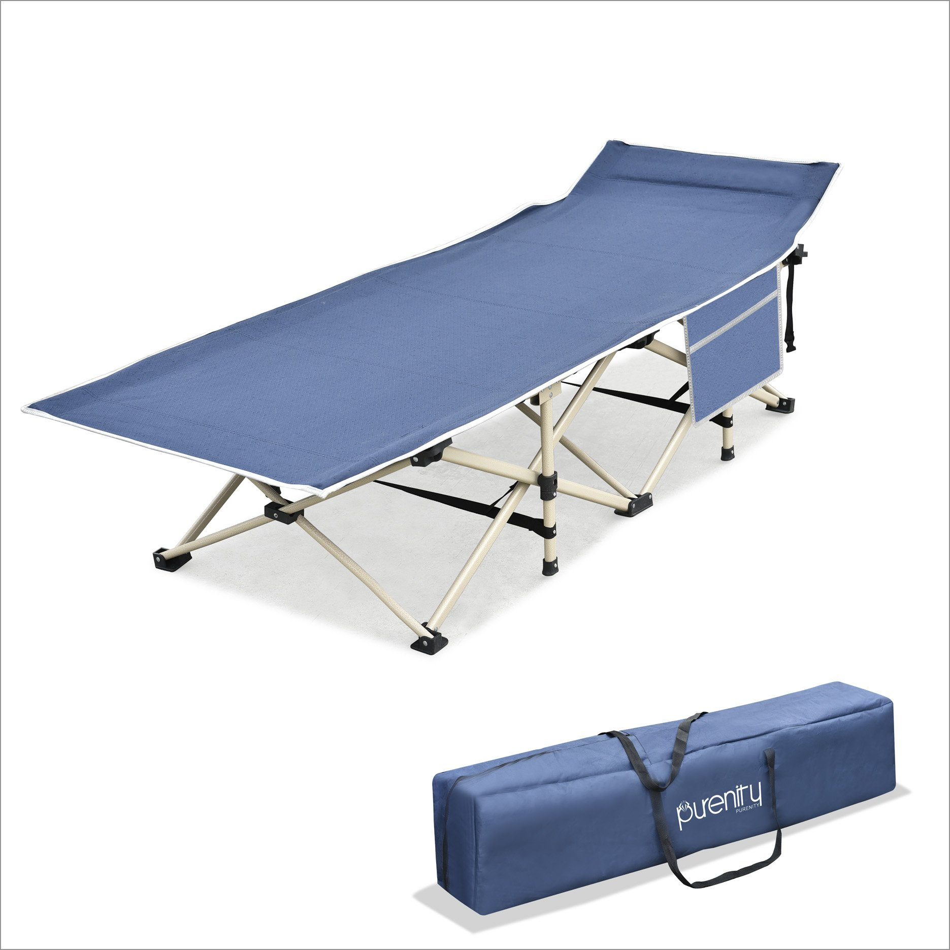 Purenity Stable Camping Cot Portable Folding Beach Bed with Decent Storage Bag (Dark Blue)