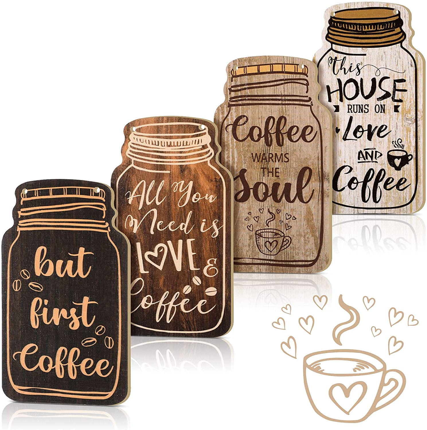 4 Pieces Decorative Wood Coffee Sign Rustic Wood Coffee Bar Sign Wall Hanging Plaque All You Need Is Love and Coffee Sign for Home Kitchen Decoration, 8.3 x 4.5 Inch