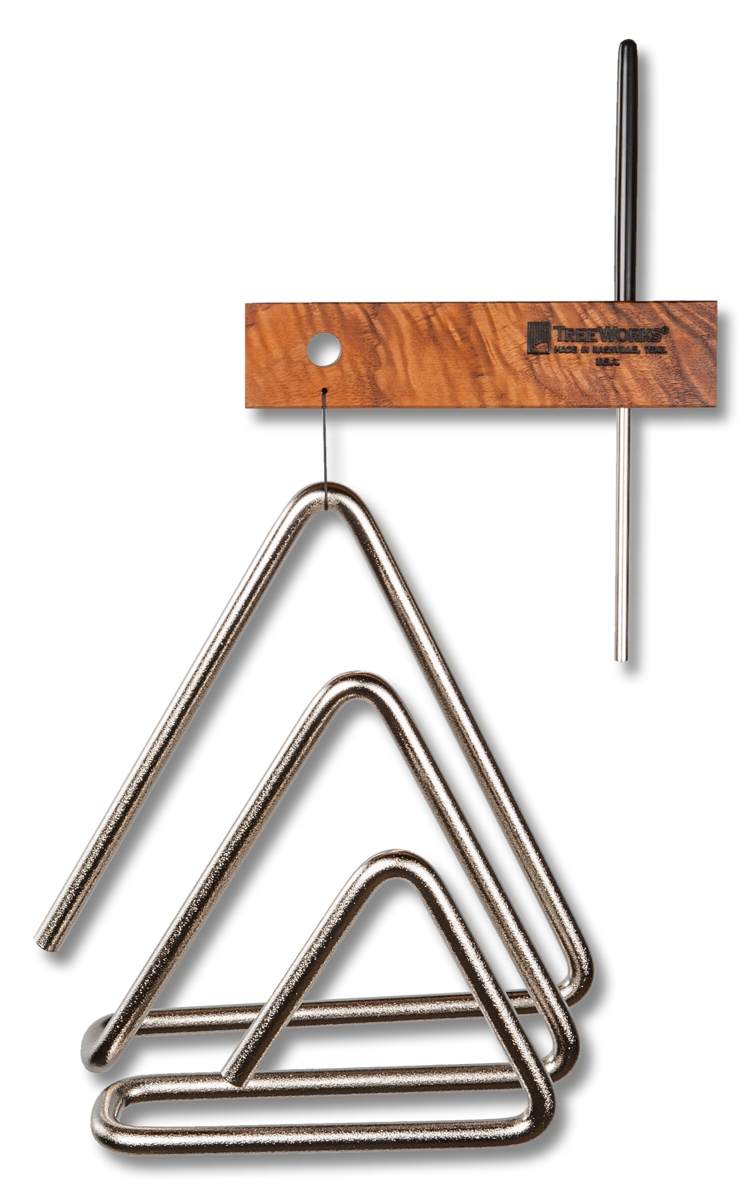 TreeWorks Chimes TRE3d Made in USA Three-Dimensional Triple Triangle Containing  4'', 6'', and 8'' Triangles with Beater and Mantle