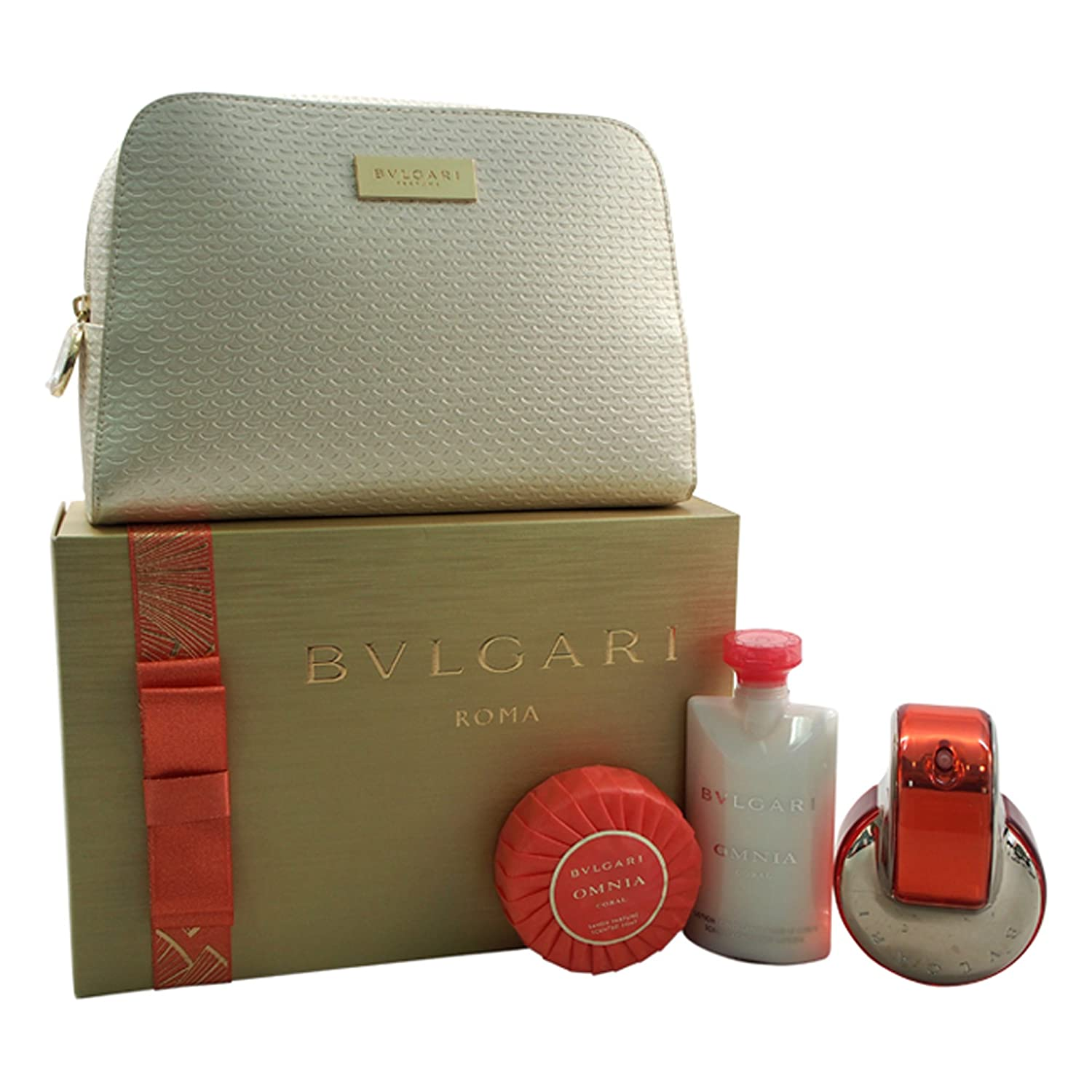 Bvlgari Omnia Coral Set 65ml Eau de Toilette + 75ml Body Lotion + 75g Seife + Pouch .