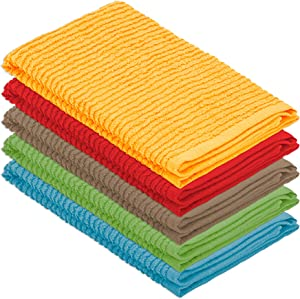 DecorRack 5 Pack Small Kitchen Dish Towels, 100% Cotton, 12 x 12 Inch Dish Cloths, Perfect Cleaning Cloth for Washing Dishes, Kitchen, Bar, Counter and Car, Assorted Colors (Pack of 5)
