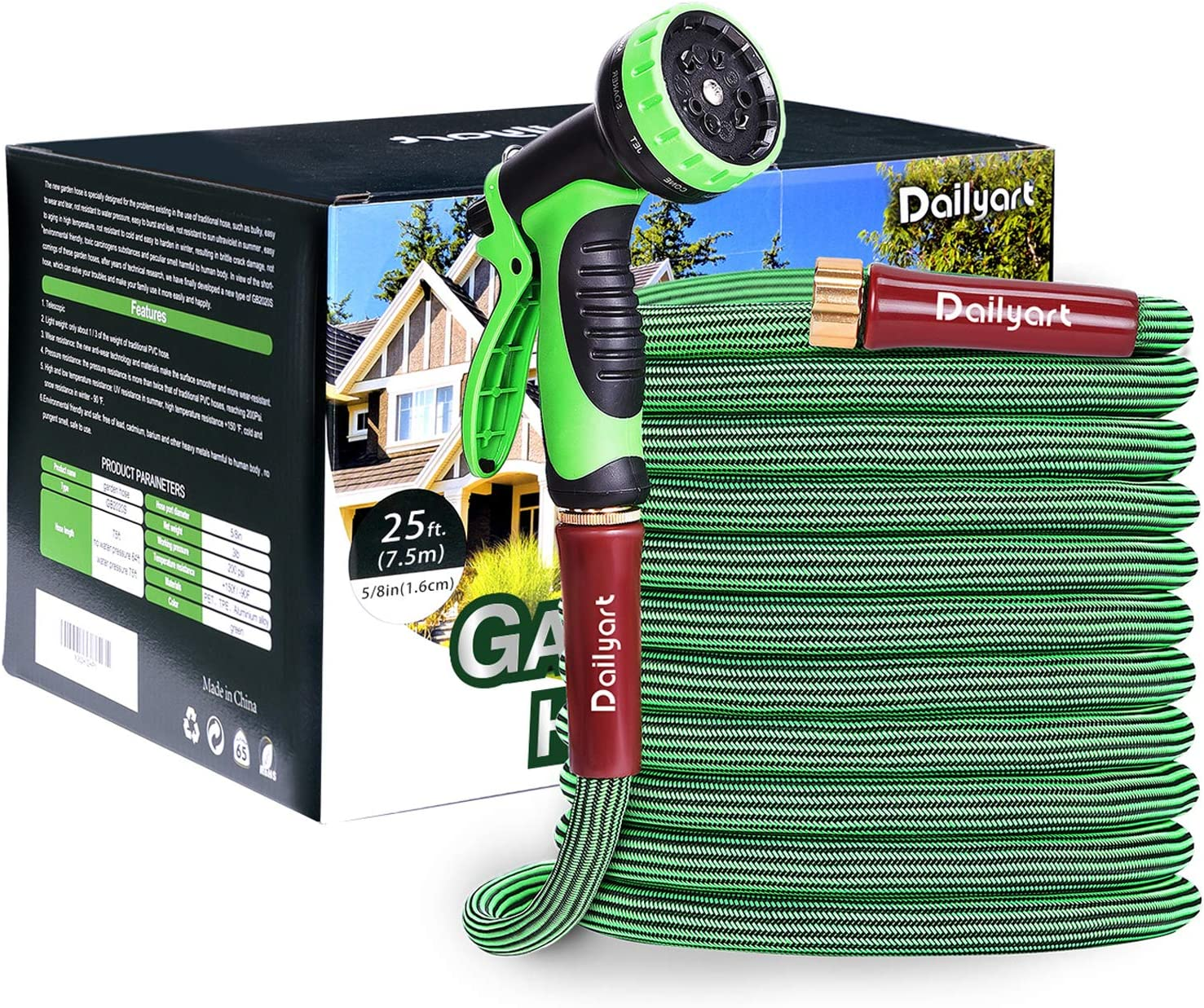Dailyart Garden Hose, 50ft Expandable Flexible Water Hose with 10 Function Spray Nozzle,2020 New Extra Strength Light Fabric,Durable at +150°F/-90°F,Kink Free & Rot, Crack, Leak Resistant Water Hose