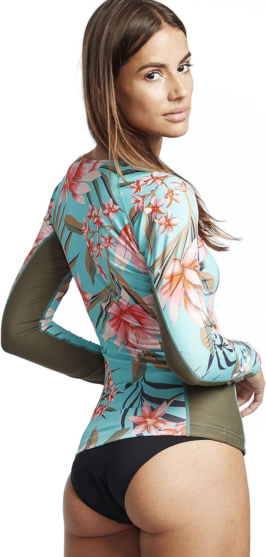 BILLABONG D/ébardeur /à Manches Longues pour Femmes Surf Capsule Yoke Seafoam Bande de Taille en n/éopr/ène UV50 + Logo imprim/é sur la Poitrine