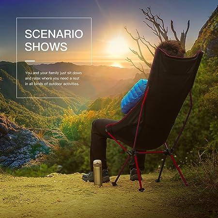 OUTAD Silla Plegable Ligera Portatil Folding Chair para Camping/Pesca/Playa (Color Rojo)