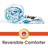 Divine Casa Microfibre Comforter/Blanket/Quilt/Duvet Lightweight, All Weather Single Comforter, Abstract- Sky Blue and Brown