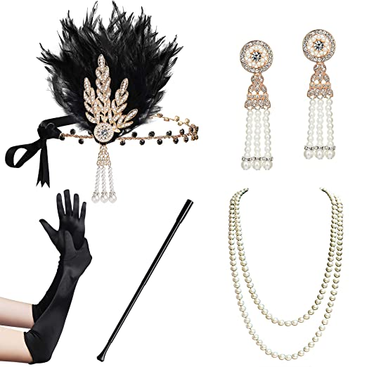 BABEYOND 1920s Flapper Gatsby Costume Accessories Set 20s Flapper Headband Pearl Necklace Gloves Cigarette Holder (Flapper set-2)