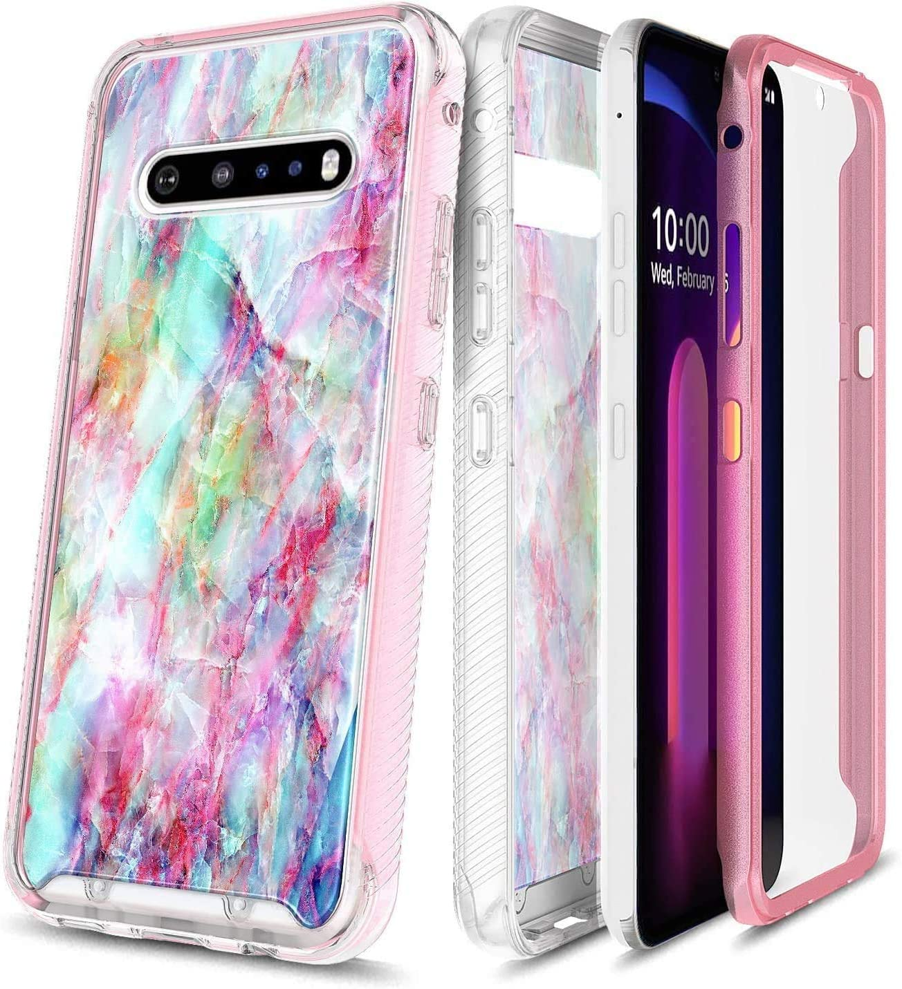 E-Began Phone Case for LG V60 ThinQ, V60 ThinQ 5G (2020 Release), Full-Body Protective Matte Bumper Cover with Built-in Screen Protector, Marble Design, Shockproof Impact Resist Durable Case -Fantasy