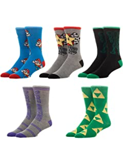 Bioworld Super Nintendo Mario Zelda Metroid Casual Crew Socks (Pack of 5),10