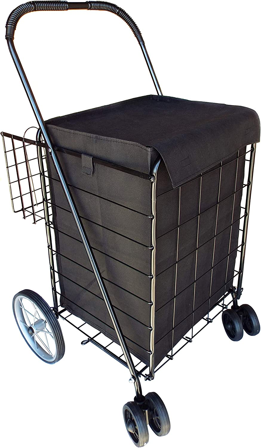 Portable Double Basket Heavy-Duty Folding Shopping Cart w Front Swivel Wheels, and Steel Back Wheels – Fits in Trunk OR Back Seat – Never Make Two Grocery Trips Again – Black with Liner