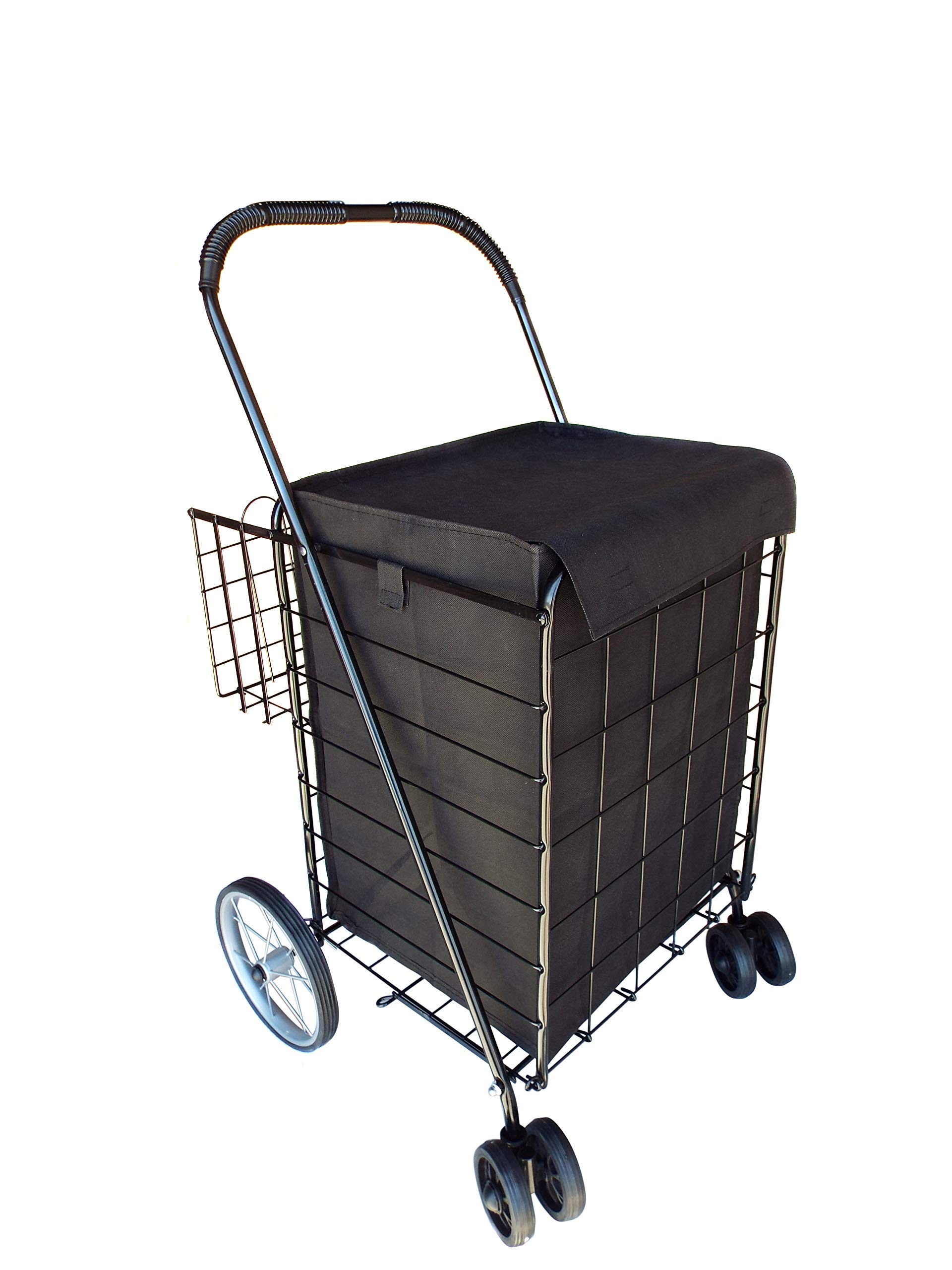 Portable Double Basket Heavy-Duty Folding Shopping Cart w/Front Swivel Wheels, and Steel Back Wheels - Fits in Trunk OR Back Seat - Never Make Two Grocery Trips Again - Black with Liner by Safari Swings