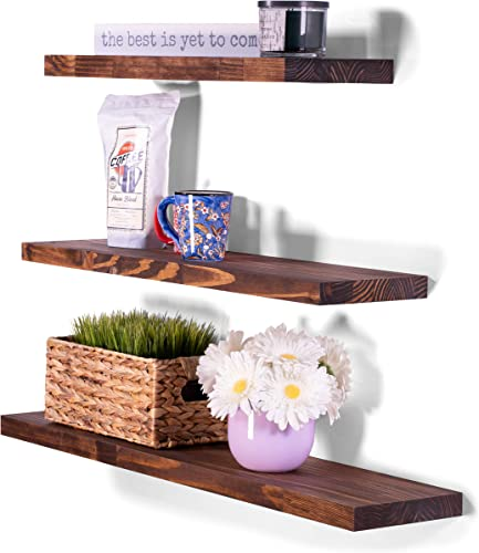 DAKODA LOVE Butcher Block Floating Shelves USA Handmade Wall Mounted Hidden Single Bar Floating Shelf Bracket Farmhouse Rustic Pine Wood Set of 3 Bourbon, 36 , 30 , 24 L x 8 D